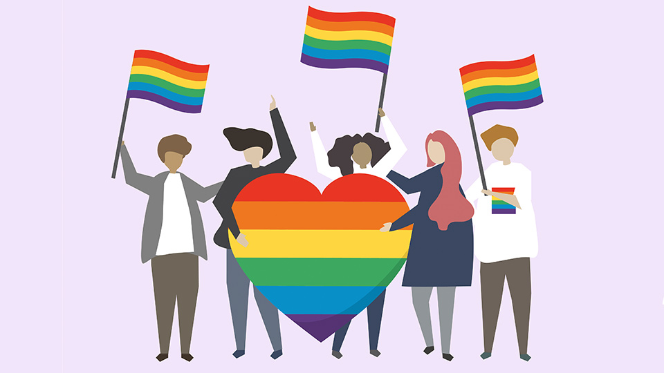 An illustration of people holding the rainbow flag.