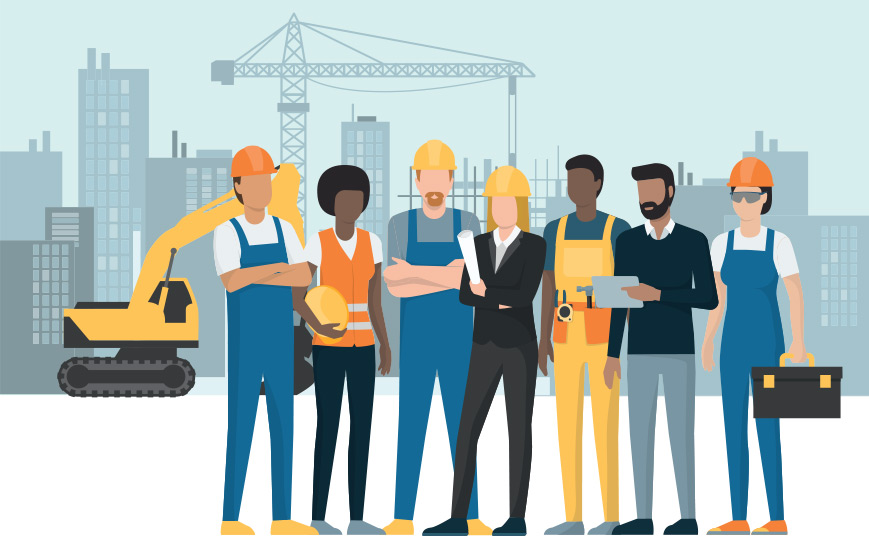 Illustration of people in construction.