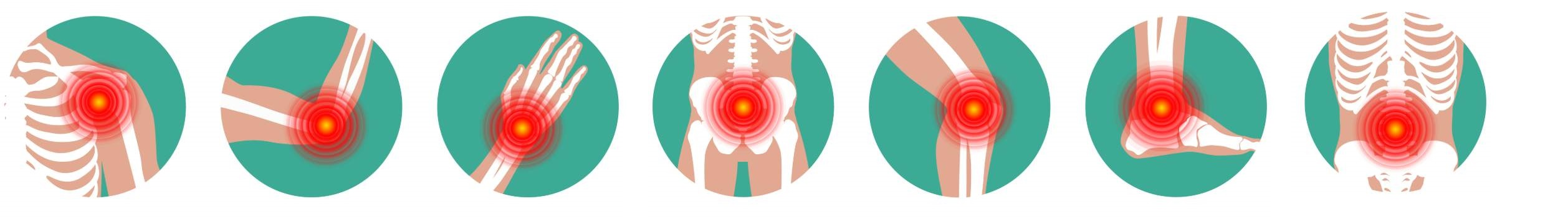 Icons showing different body parts with bone issues
