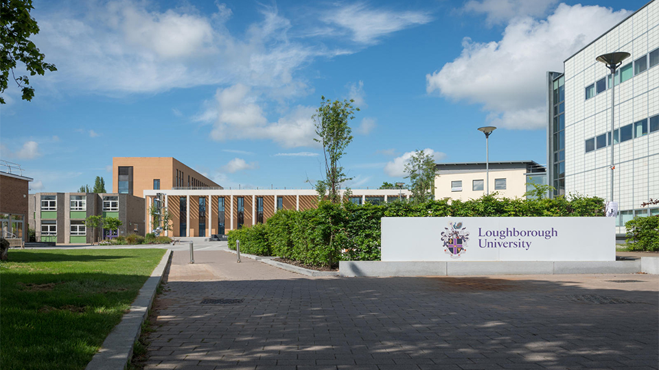 Photo of the entrance near to Shirley Pearce Square with the Loughborough University logo