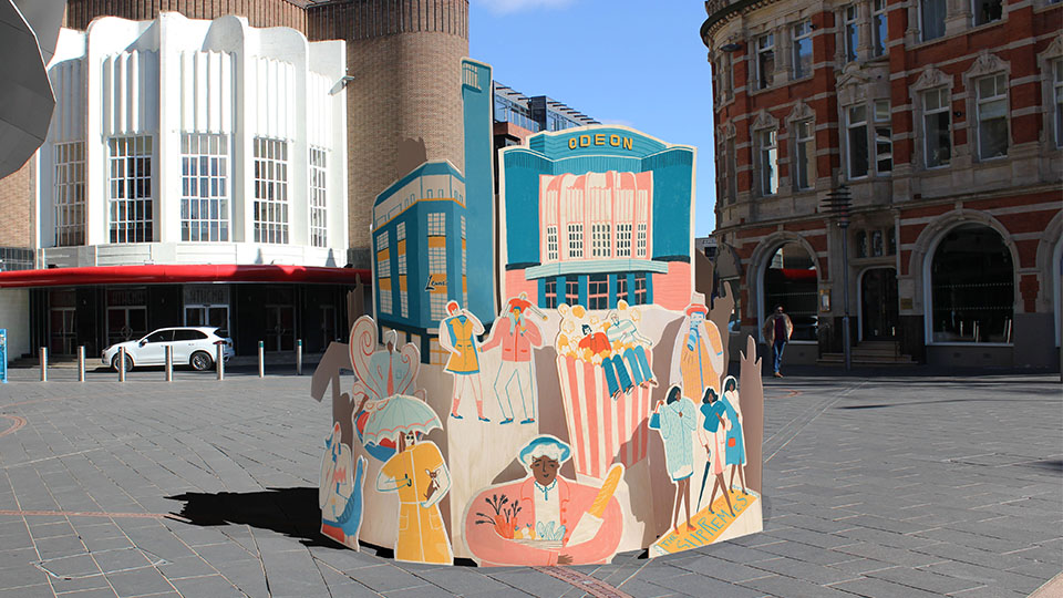 Designed to be the centrepiece of the trail, this structure portrays various stories about the local area. For example, on the right of the structure The Supremes arrive to perform at The Odeon.
