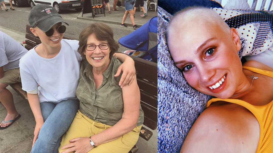 Photo combo of JJ after treatment and a photo of her with her mum, Rosemary