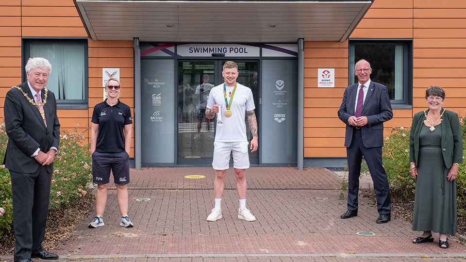 Mayor and Mayoress with Adam Peaty