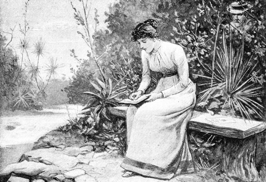 An old illustration of a woman writing.