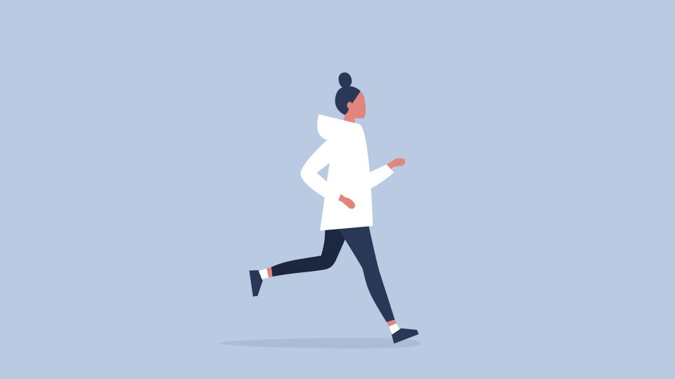 A drawing of a woman running
