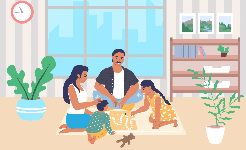 Illustration of a family playing board games