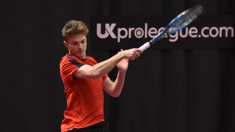 Tennis player George Houghton in action at the UK Pro League tennis tournament.