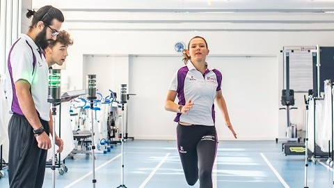 An athlete is analysed by sports scientists