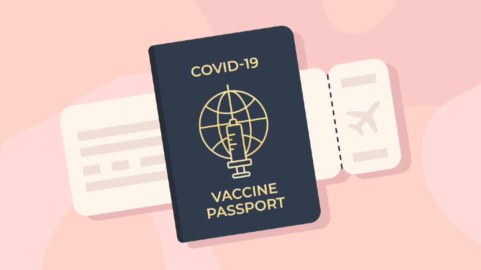 An illustration of a COVID-19 vaccine passport.