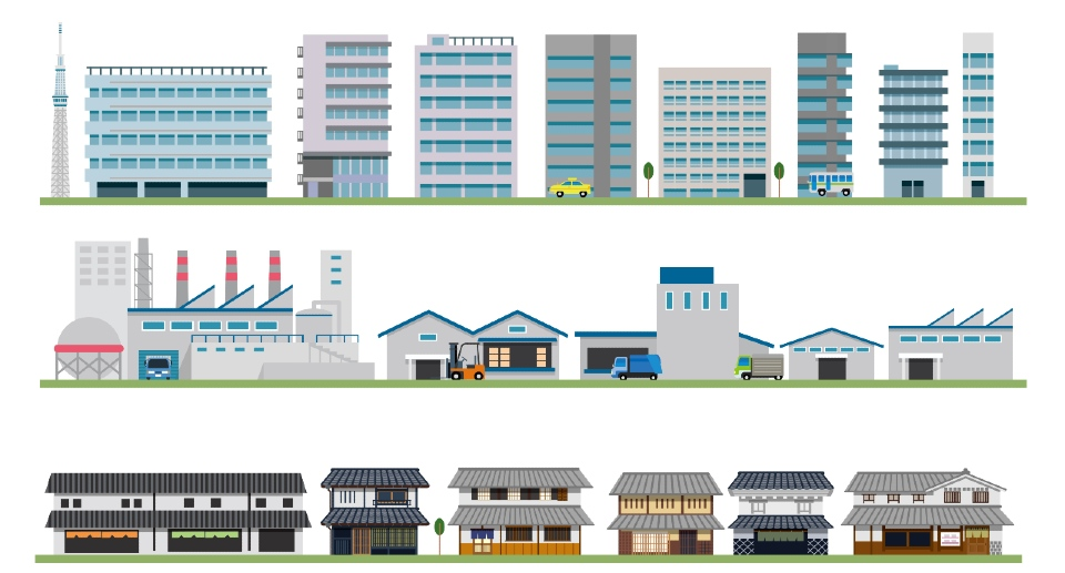 A variety of non-domestic buildings.