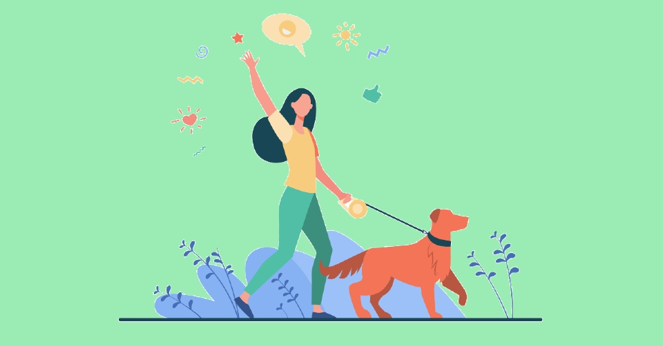 Illustration of a woman walking her dog