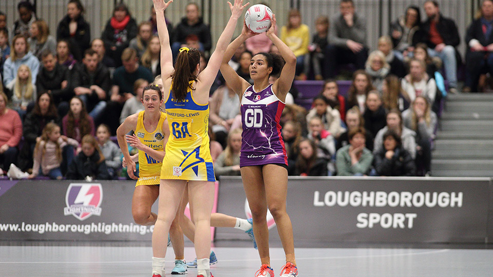 photo of Loughborough Lightning playing against another team on the court.