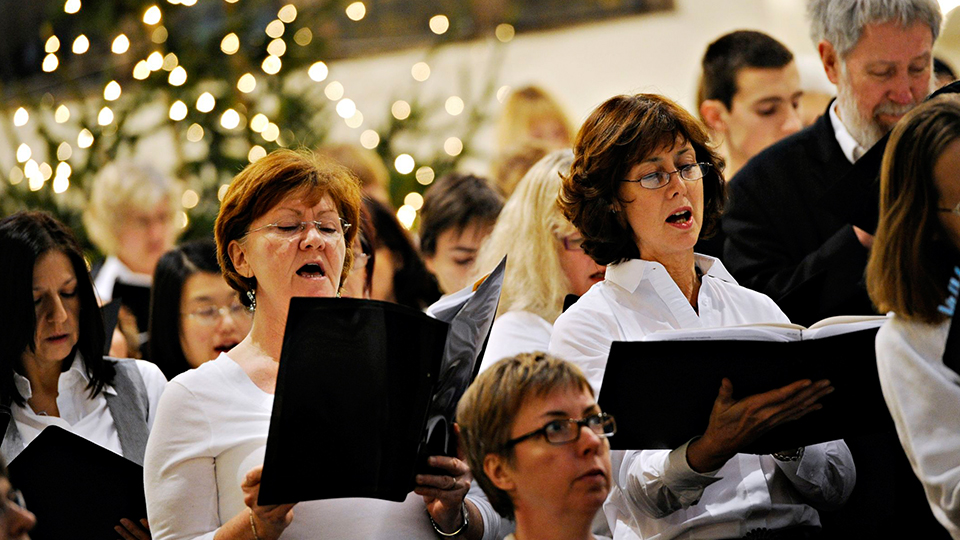 photo of the University's choir at Christmas performance