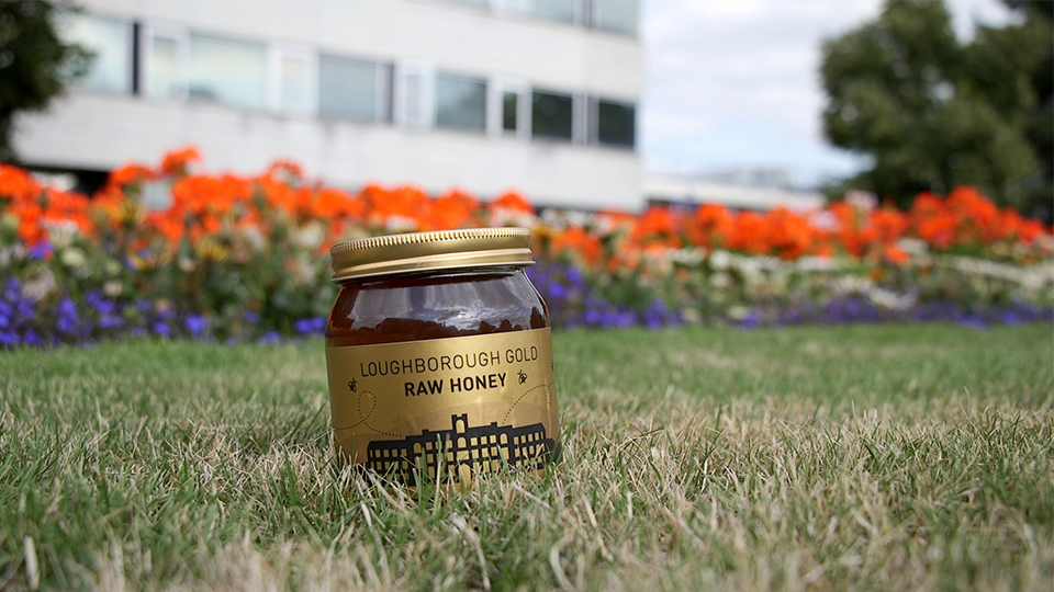 photo of 2018 Loughborough Gold honey jar in grass on Loughborough campus
