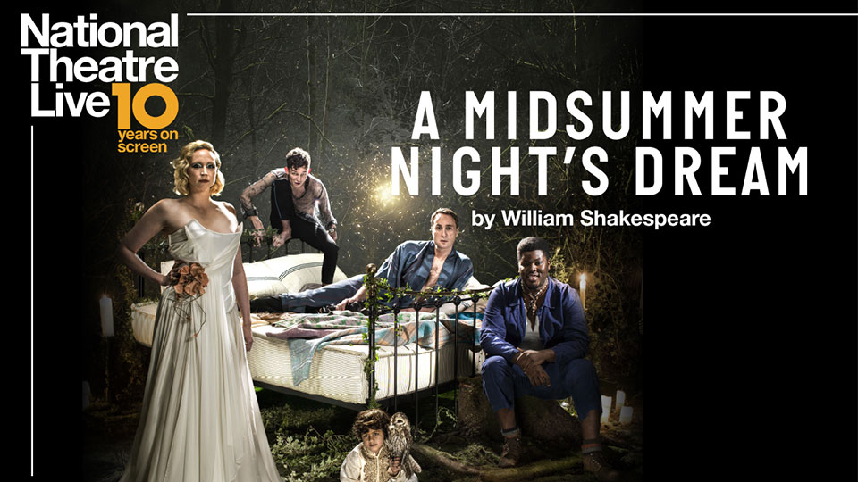Poster promoting NT Live A Midsummer Night's Dream with the cast