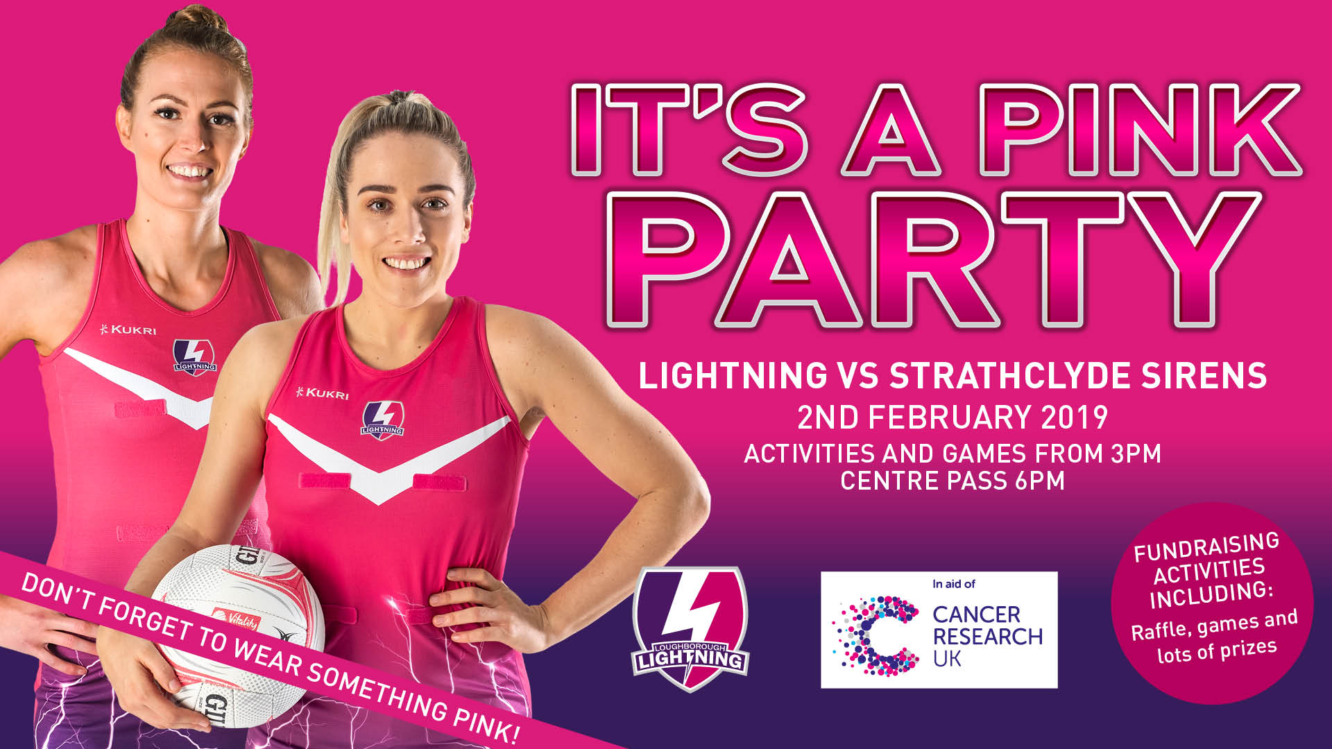 poster to advertise pink party netball event, showing two Loughborough Lightning netball players