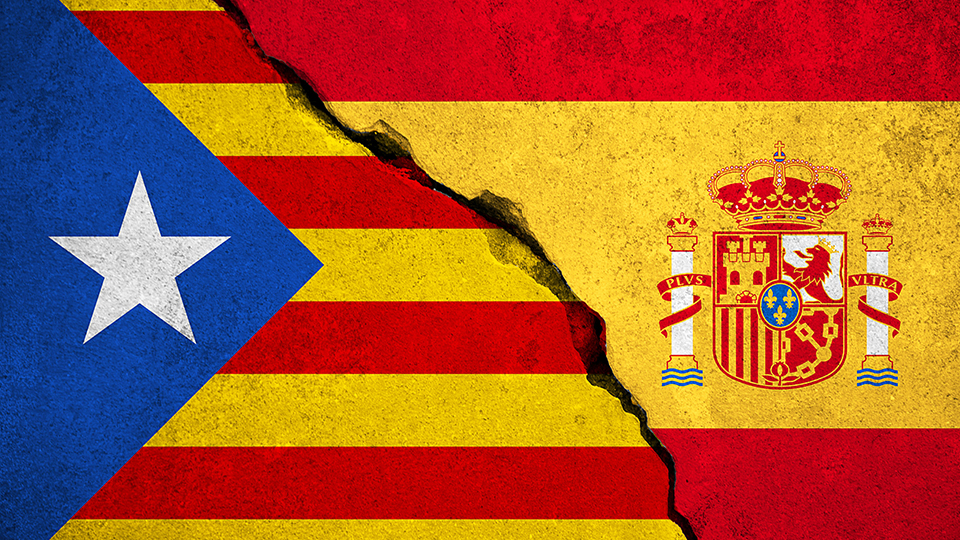 image of Catalonia and Spanish flags to promote lecture