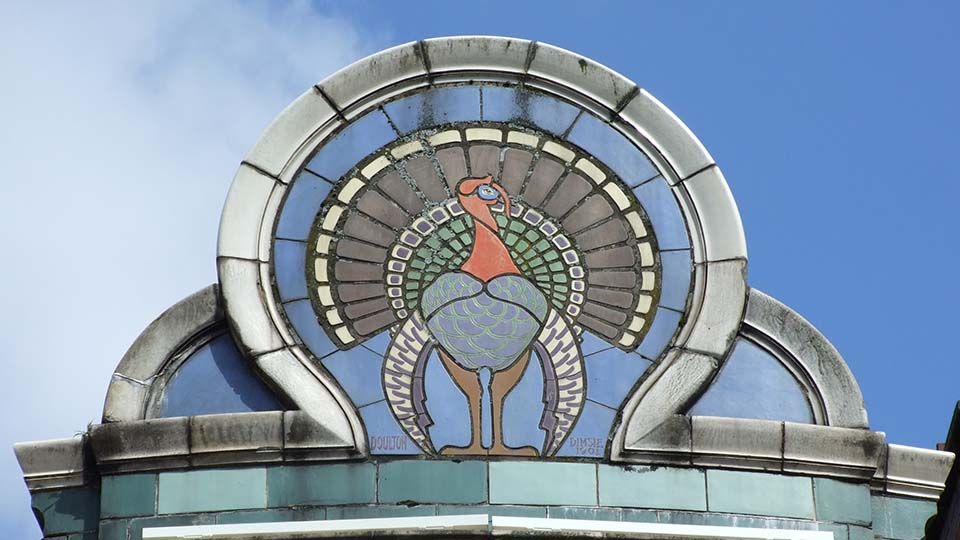 Skyline showing top of Turkey Cafe in Leicester