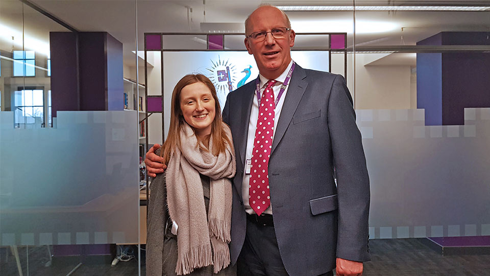 Pictured is Mia Beeson and University Vice-Chancellor Professor Robert Allison.