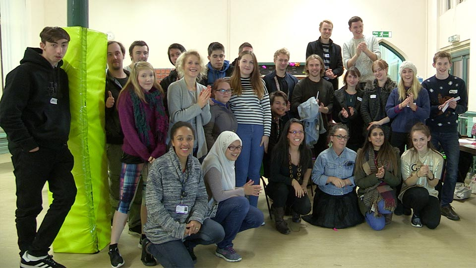Pictured are Loughborough University students and young members of The Prince's Trust at the Pull Your Socks Up event.