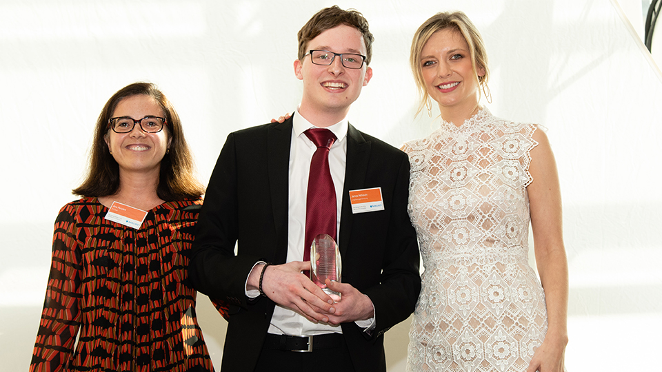 James McKevitt, Loughborough student pictured winning UG of the Year for Innovation