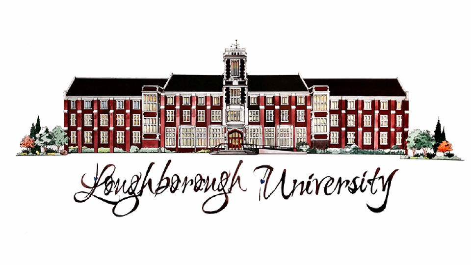 student drawing of Hazlerigg Building used for 2018 University Christmas card