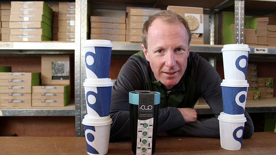 photo of Dan Dicker with his latest product, rCup