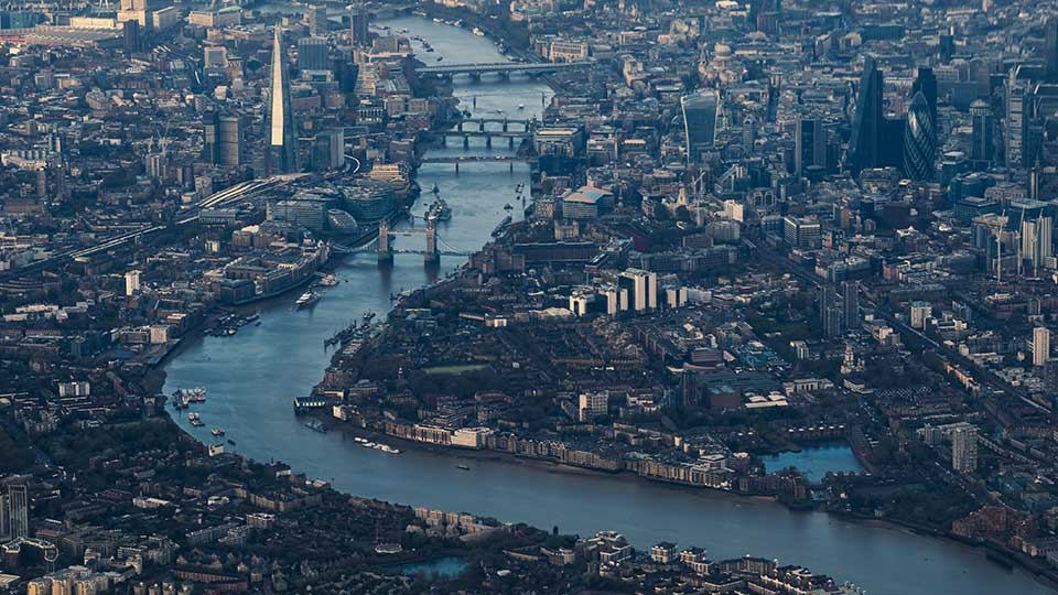 Pictured is an aerial view of London.