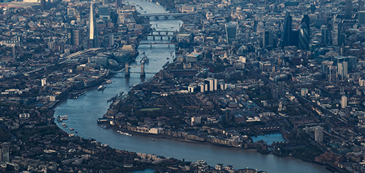 Pictured is an aerial shot of London.