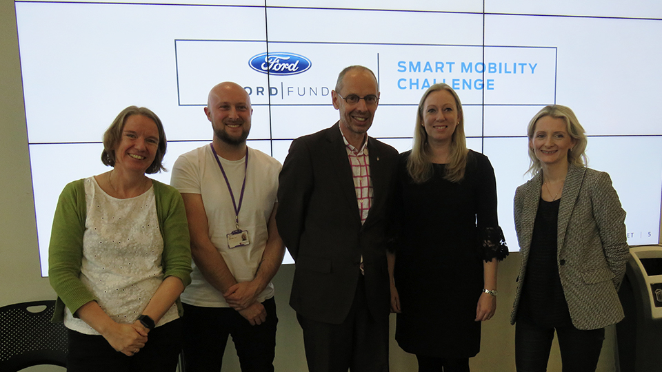 photo of Loughborough academics and Debbie from Ford at the launch presentation