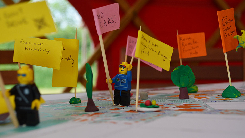 Pictured are people's ideas for a more sustainable planet written on post-it notes.