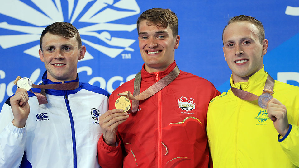 Swimmer James Wilby winning gold for the 200m breaststroke at the 2018 Commonwealth Games