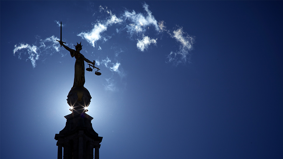Pictured is Lady Justice outside the Old Bailey.