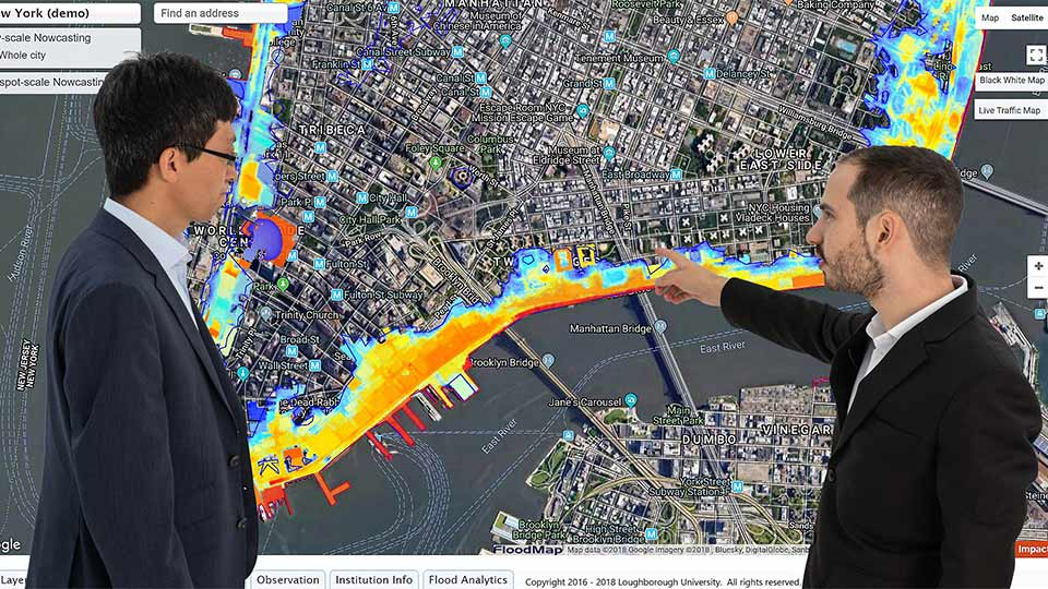 Dr Dapeng Hu and Avinoam Baruc, research development and enterprise leads for FloodMap Live.