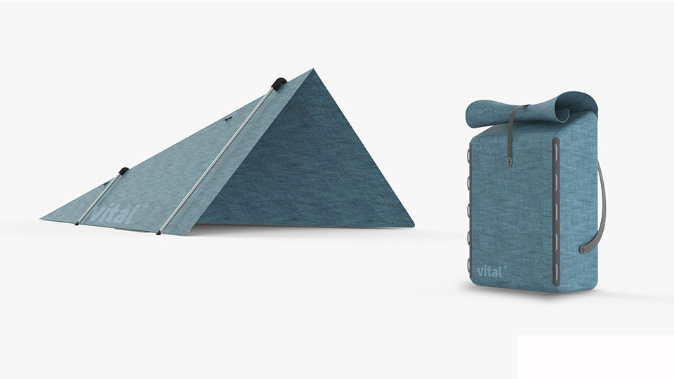 Pictured is Miles' multipurpose packaging that is designed to be used as a comfortable backpack and as a temporary shelter which can hold up to two people (an adult and child).