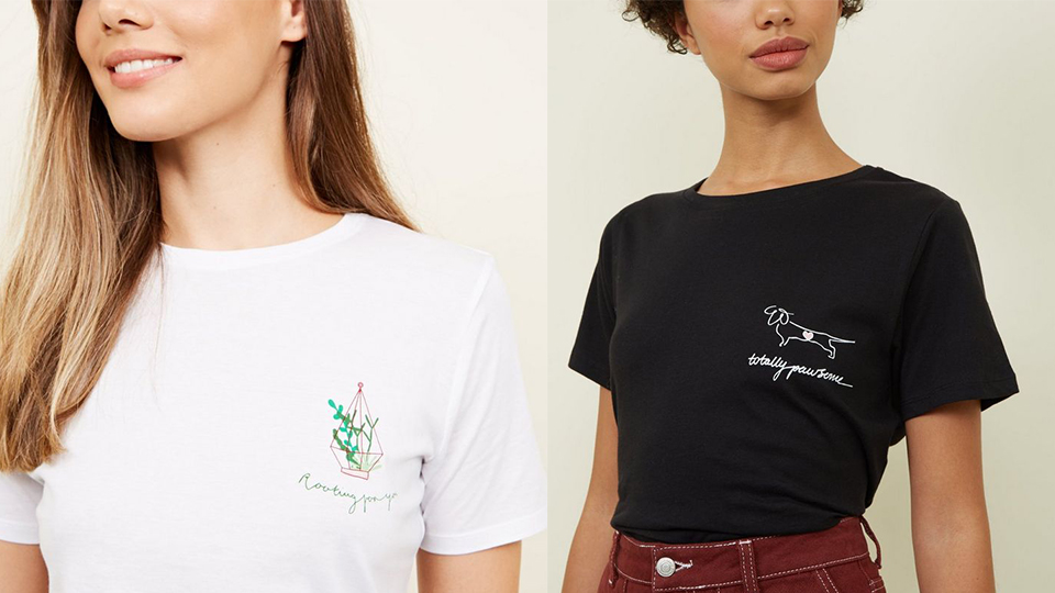 Shots of two of Abi Talbot's designs on t-shirts for New Look
