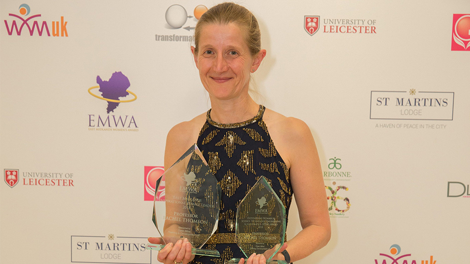photo of Pro VC Professor Rachel Thomson with two EMWA 2018 awards
