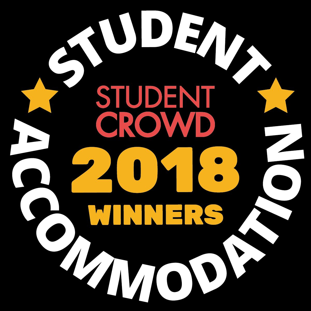 A student Crowd logo with a badge to represent Loughborough University winning Best UK University Accommodation