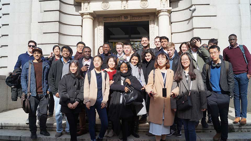 Pictured are Loughborough University and Loughborough University London students on the London Venture Crawl 2018.