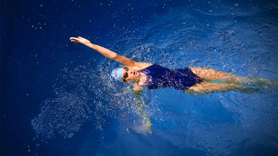 Pictured is a swimmer in open water.