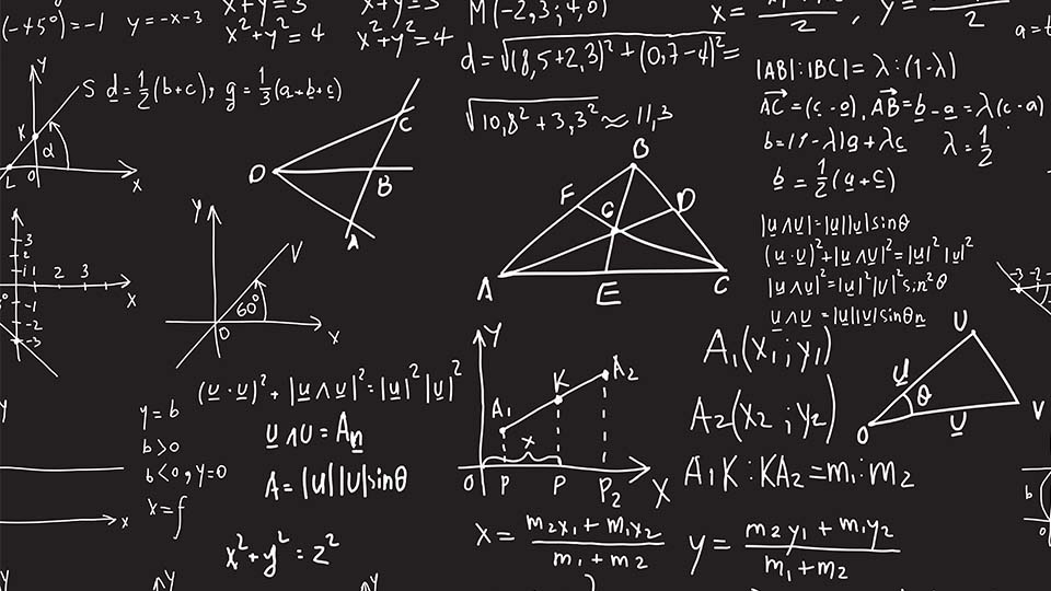 photo of geometry equations on black background