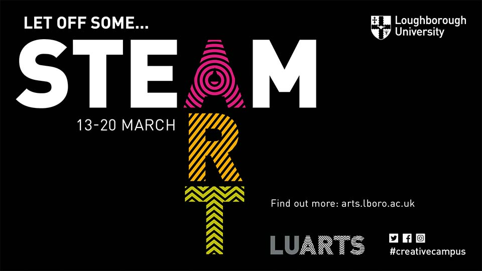 black banner with LU Arts 'STEAM Week'