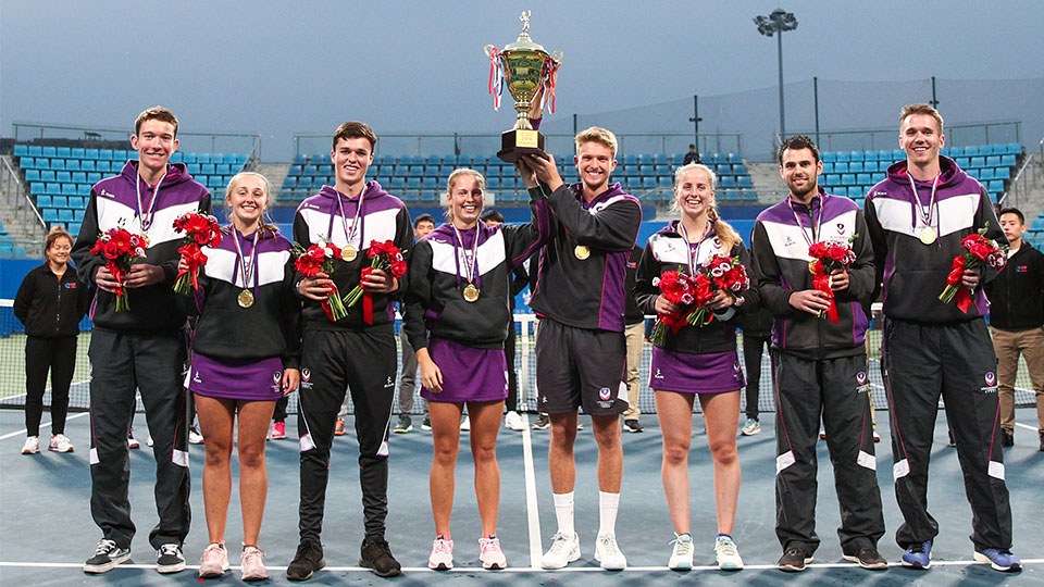 The victorious Loughborough tennis team at the Belt and Road Tournament in Chengdu, China.