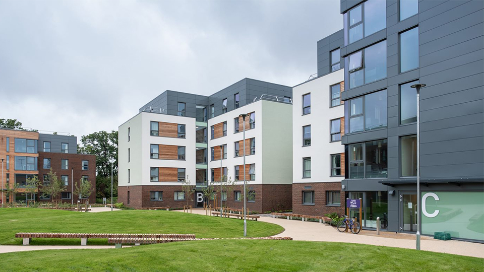 Photo of the new halls of residence Claudia Parsons on the outside