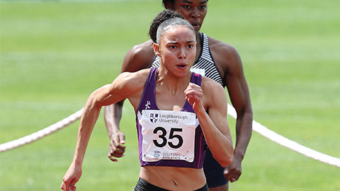 Loughborough's Georgina Adam ran a personal best of 11.45 in the Women's 100m.