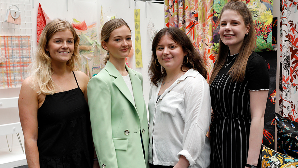 Photo of all four Loughborough winners at the New Designers show