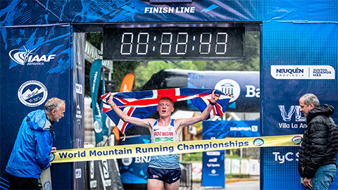 Loughborough University's Joe Dugdale has claimed gold in the junior men's title at World Mountain Running Championships in Patagonia, Argentina.