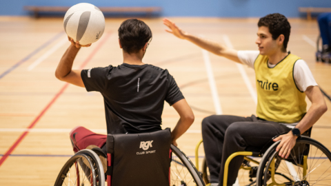 An image of wheelchair basketball