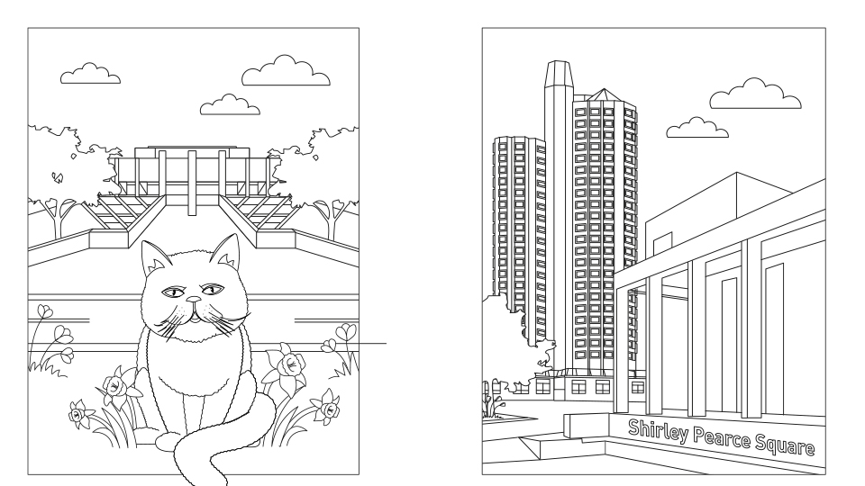 Examples of the colouring sheets (Charlie the cat and Towers)