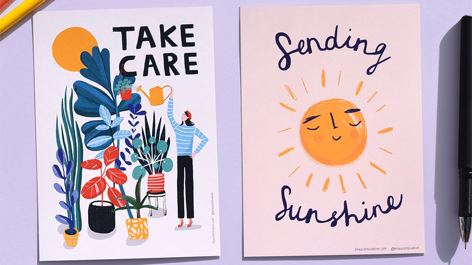 Photo of Pickle Illustrations' postcards designed to send to loved ones during the coronavirus pandemic.